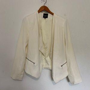 Gloria Vanderbilt Cream Open Jacket Blazer